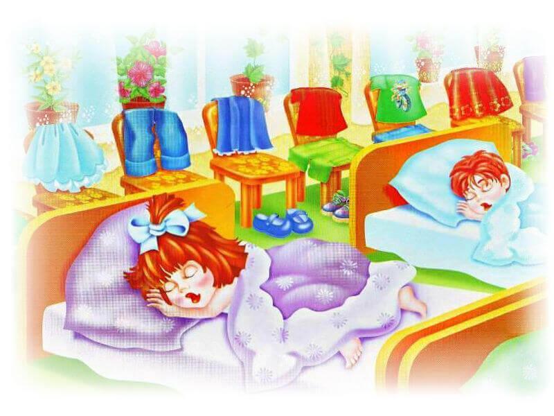Картинка дети спят в кроватках